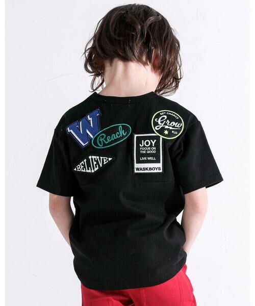 WASK/ワスク ワッペン付き ワイド 半袖 Tシャツ (100~160cm) ブラック 100cm