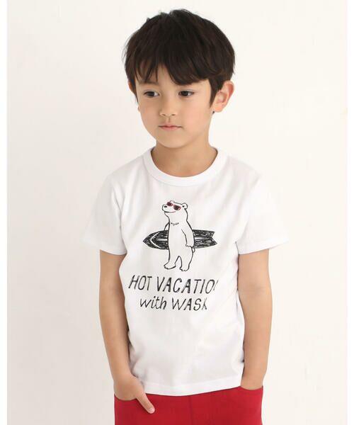 WASK / ワスク Tシャツ   アニマル 天竺 Tシャツ (100~160cm)(レッド)