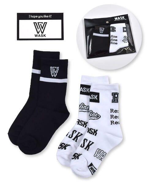 WASK/ワスク ライン + ロゴ柄 2P ソックス (15~24cm) ブラック 22-24cm