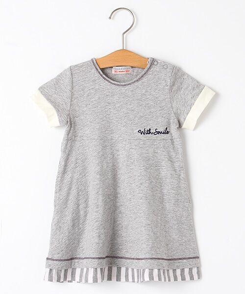 zuppa di zucca / ズッパ ディ ズッカ ミニ丈・ひざ丈ワンピース | 製品洗Tシャツ(グレー)