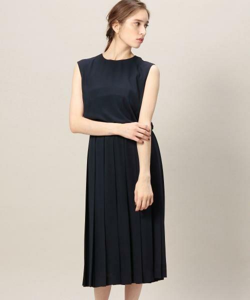 BY DRESS ジョーゼットプリーツ ノースリーブドレス