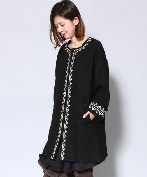 navasana二重織メルトン刺繍コート/714-NSP-N152-CO056