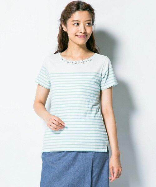 パネルボーダービジューTシャツ【送料無料】