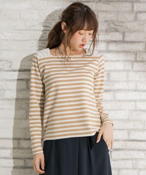 any SiS / エニィスィス Tシャツ | レーシーフレンチボーダー カットソー(アイボリー系1)