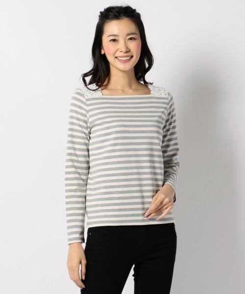 any SiS / エニィスィス Tシャツ | レーシーフレンチボーダー カットソー(ライトグレー系1)
