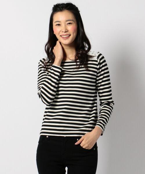 any SiS / エニィスィス Tシャツ | レーシーフレンチボーダー カットソー(ブラック系1)