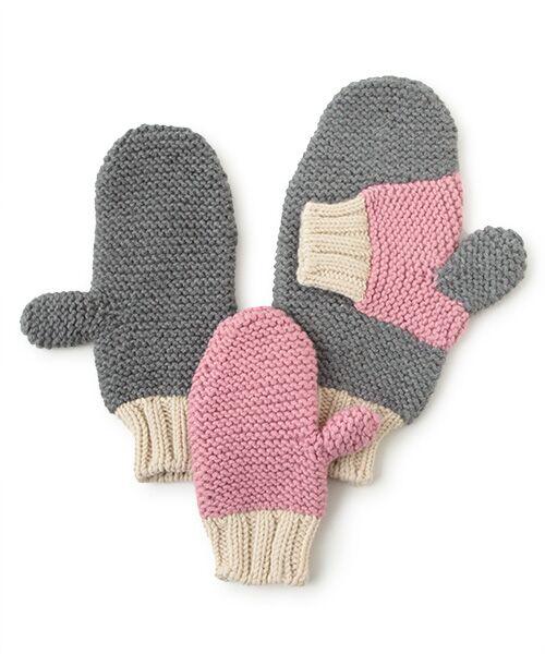 DGBH / ディージービーエイチ 手袋 | フォエ―バー・ハンド・イン・ハンド・ミトンズ(グレイ/スモーキーピンク/オフホワイト)