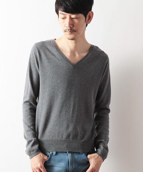 DGBH / ディージービーエイチ ニット・セーター | メンズ Vネックセーター(ピマコットン70%ヤク30%)(グレー)