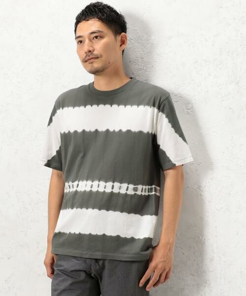 green label relaxing / グリーンレーベル リラクシング Tシャツ | ST タイダイボーダー クルーネック SS Tシャツ(ダークグレー)