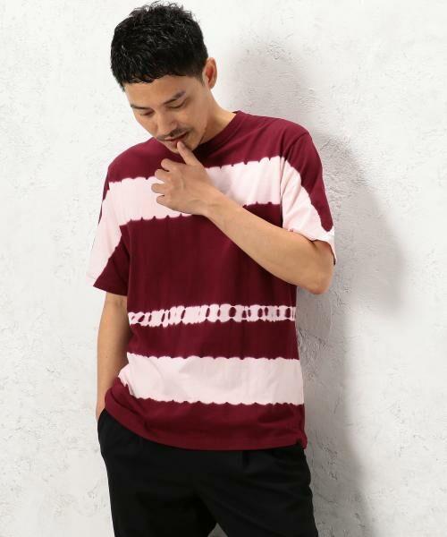 green label relaxing / グリーンレーベル リラクシング Tシャツ | ST タイダイボーダー クルーネック SS Tシャツ(ワイン)