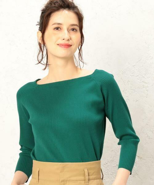 green label relaxing / グリーンレーベル リラクシング ニット・セーター | 【CLASSY.10月号掲載】[手洗い可能] KC リブ スクエアネック ニット | 詳細19