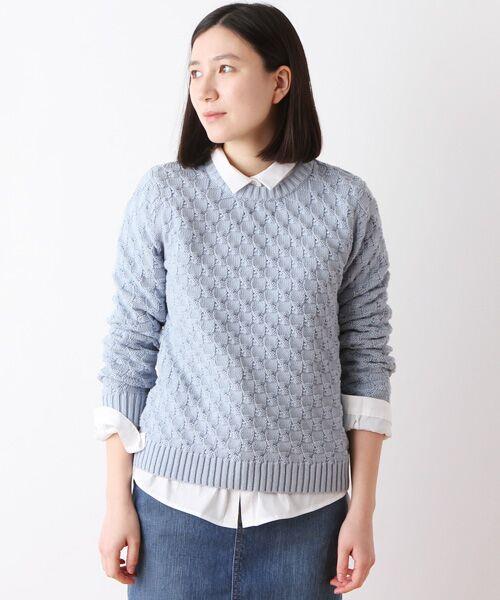 コットンミドルゲージ柄編みセーター【送料無料】