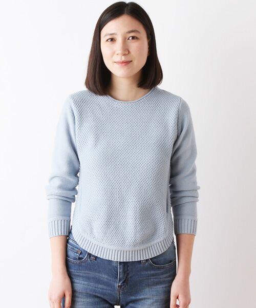 コットンミドルゲージ変形鹿の子編みセーター【送料無料】