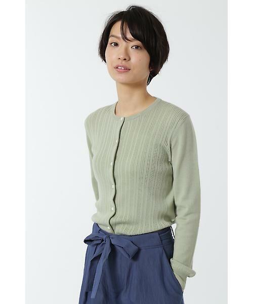 HUMAN WOMAN / ヒューマンウーマン ニット・セーター | WOOL BASIC 3ニットカーディガン(グリーン)