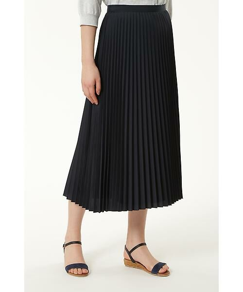 HUMAN WOMAN / ヒューマンウーマン スカート | C/Peポプリン プリーツスカート(ネイビー)