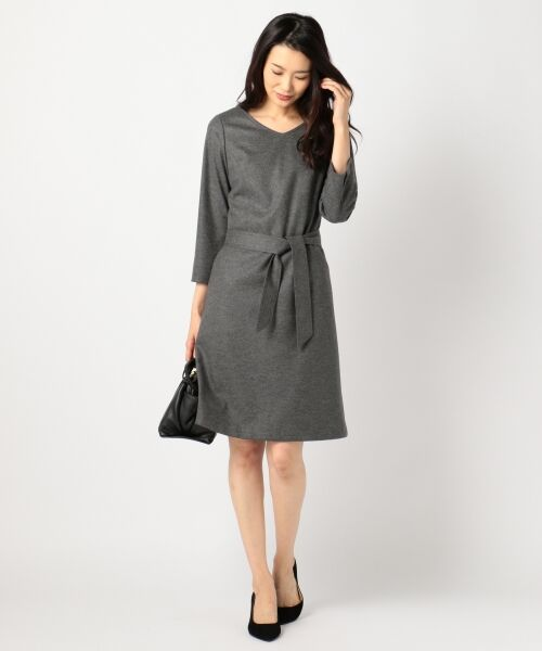 J.PRESS / ジェイプレス ドレス | 1/60ウール圧縮スムース ワンピース(グレー系)
