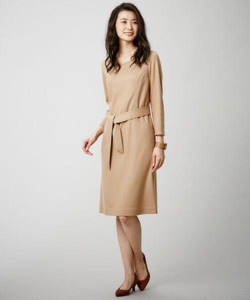 J.PRESS / ジェイプレス ドレス | 1/60ウール圧縮スムース ワンピース(キャメル系)