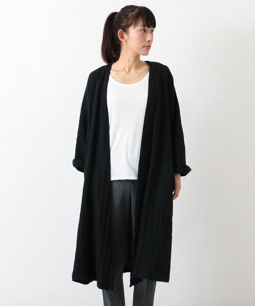 リネンのノーカラーコート【送料無料】