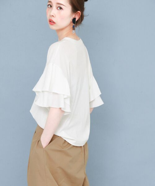 KBF / ケービーエフ Tシャツ   ティアードスリーブTシャツ(WHITE)