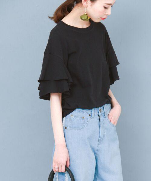 KBF / ケービーエフ Tシャツ   ティアードスリーブTシャツ(BLACK)