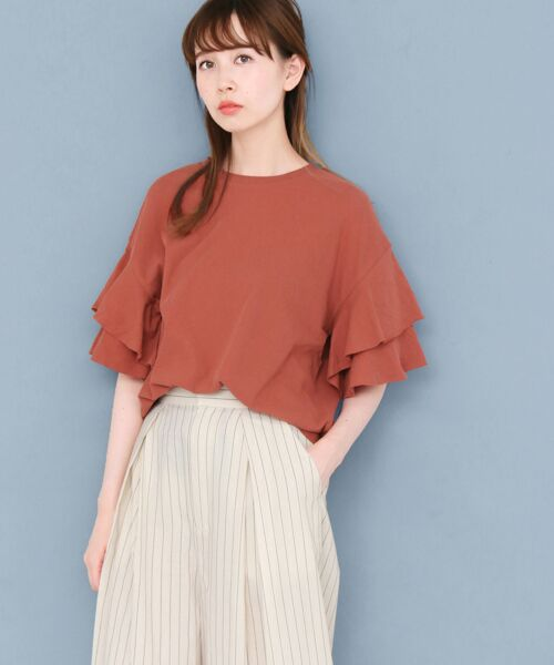 KBF / ケービーエフ Tシャツ   ティアードスリーブTシャツ(RED BROWN)