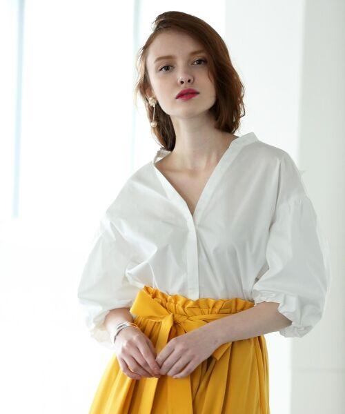 le.coeur blanc / ルクールブラン シャツ・ブラウス   ボリュームスリーブスキッパーシャツ(オフ)