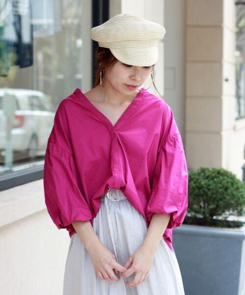le.coeur blanc / ルクールブラン シャツ・ブラウス   ボリュームスリーブスキッパーシャツ(D/ピンク)