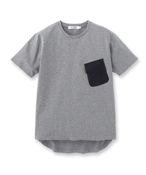 フラップポケット付き度詰め天竺Tシャツ【送料無料】