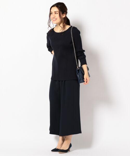 L size ONWARD(大きいサイズ) / エルサイズオンワード Tシャツ | 【洗える】コットンワイドリブ カットソー | 詳細3