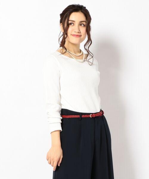 L size ONWARD(大きいサイズ) / エルサイズオンワード Tシャツ | 【洗える】コットンワイドリブ カットソー(ホワイト系)
