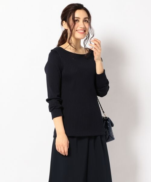 L size ONWARD(大きいサイズ) / エルサイズオンワード Tシャツ | 【洗える】コットンワイドリブ カットソー(ネイビー系)