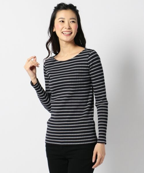 L size ONWARD(大きいサイズ) / エルサイズオンワード Tシャツ | 【洗える】コットンワイドリブ カットソー | 詳細10