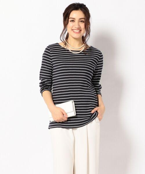 L size ONWARD(大きいサイズ) / エルサイズオンワード Tシャツ | 【洗える】コットンワイドリブ カットソー(ネイビー系1)