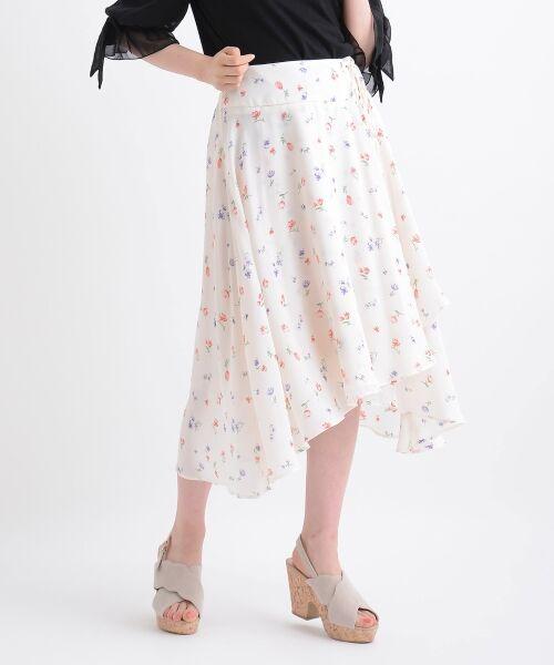 MAJESTIC LEGON / マジェスティックレゴン ミニ・ひざ丈スカート | カラフルフラワースカート(アイボリー柄)