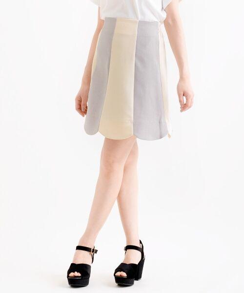MAJESTIC LEGON / マジェスティックレゴン ミニ・ひざ丈スカート | スカラップバイカラースカート(アイボリー柄)