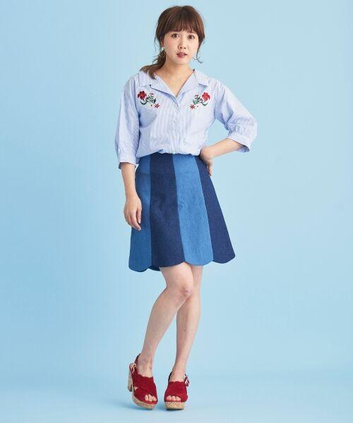 MAJESTIC LEGON / マジェスティックレゴン ミニ・ひざ丈スカート | ☆スカラップバイカラースカート | 詳細20