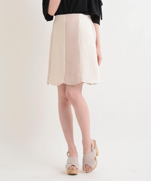 MAJESTIC LEGON / マジェスティックレゴン ミニ・ひざ丈スカート | スカラップバイカラースカート(ピンク柄)