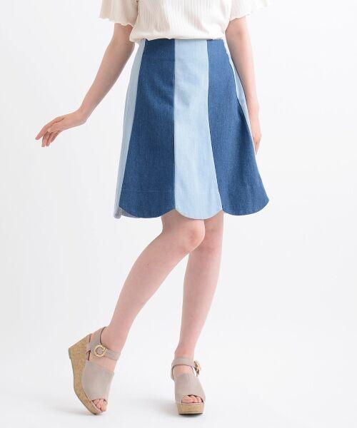 MAJESTIC LEGON / マジェスティックレゴン ミニ・ひざ丈スカート | スカラップバイカラースカート(ブルー柄)