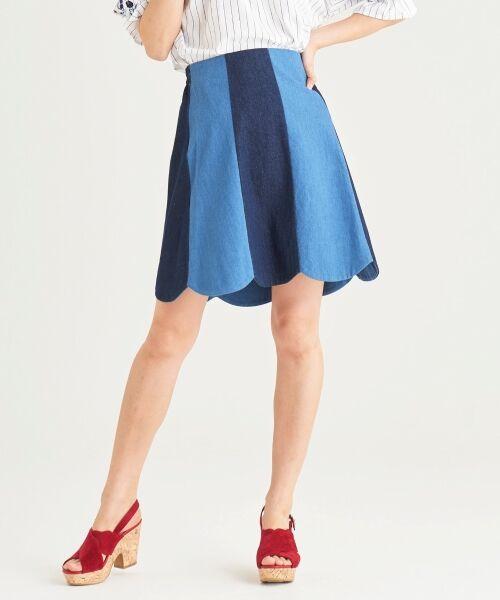 MAJESTIC LEGON / マジェスティックレゴン ミニ・ひざ丈スカート | スカラップバイカラースカート(ネイビー柄)
