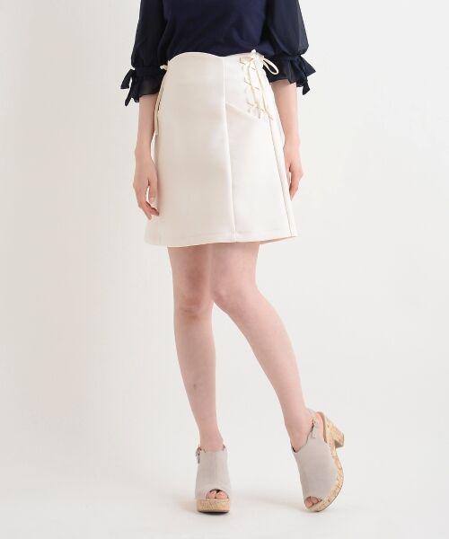 MAJESTIC LEGON / マジェスティックレゴン ミニ・ひざ丈スカート | サイド編み上げAラインスカート(アイボリー)