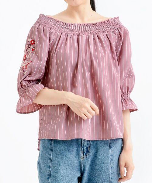 MAJESTIC LEGON / マジェスティックレゴン シャツ・ブラウス | ☆袖刺繍ストライプブラウス(ピンク柄)