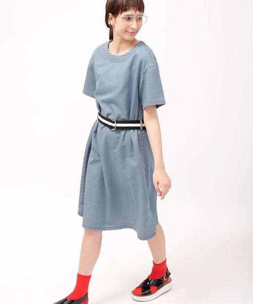 カットデニムベルト付きワンピース【送料無料】