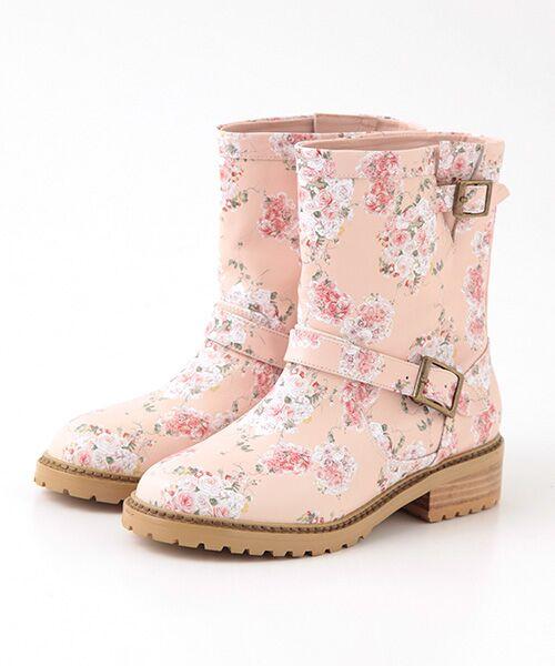 PINK HOUSE / ピンクハウス ブーツ(ショート丈) | ローズブーケプリントブーツ(ピンク)