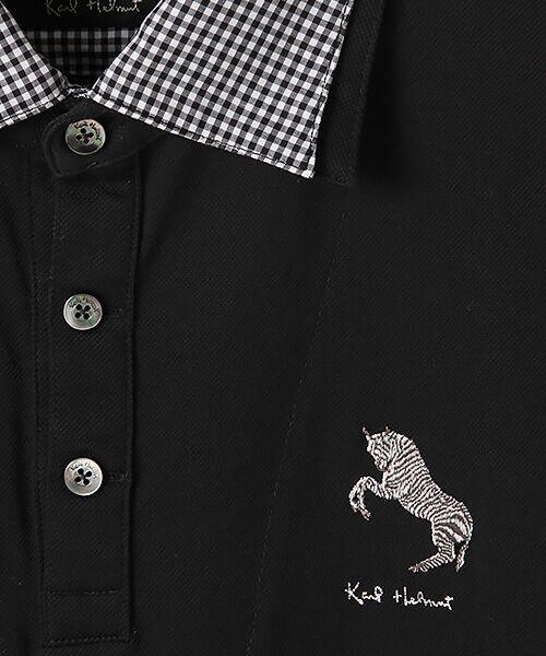 PINK HOUSE / ピンクハウス ポロシャツ | シマウマ刺繍入りギンガム衿ポロシャツ | 詳細1
