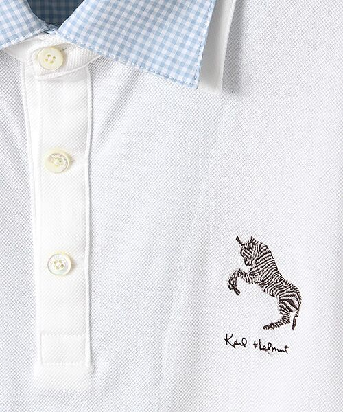 PINK HOUSE / ピンクハウス ポロシャツ | シマウマ刺繍入りギンガム衿ポロシャツ | 詳細5
