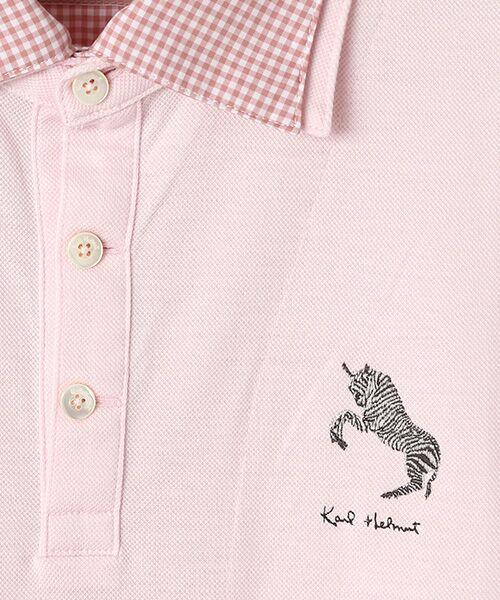 PINK HOUSE / ピンクハウス ポロシャツ | シマウマ刺繍入りギンガム衿ポロシャツ | 詳細8