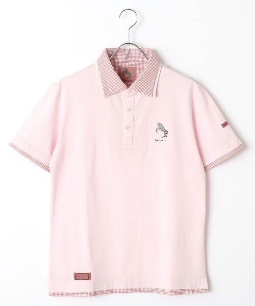 PINK HOUSE / ピンクハウス ポロシャツ | シマウマ刺繍入りギンガム衿ポロシャツ(薄ピンク)