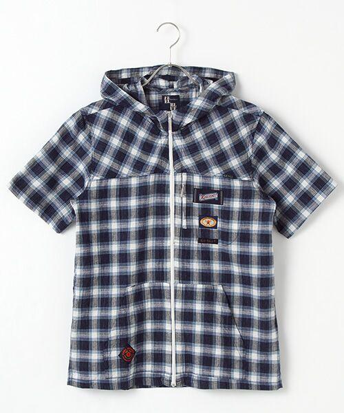 PINK HOUSE / ピンクハウス シャツ・ブラウス | ドビーチェックフード付きシャツブラウス(ブルー×コン)