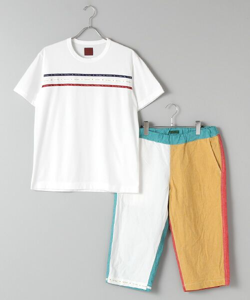 PINK HOUSE / ピンクハウス Tシャツ   セルビッチテープ使いTシャツ&パッチワーク使いハーフパンツセット(マルチ×シロ)