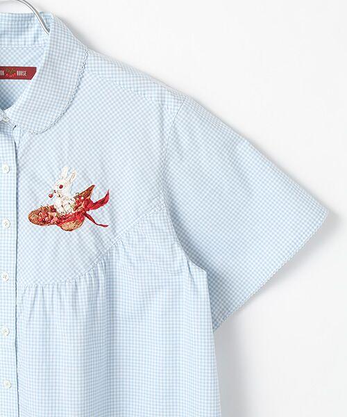 PINK HOUSE / ピンクハウス シャツ・ブラウス | うさぎと帽子刺繍入りギンガムチュニックブラウス | 詳細4